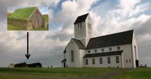 Mynd af Skálholtskirkju og Þorláksbúðum